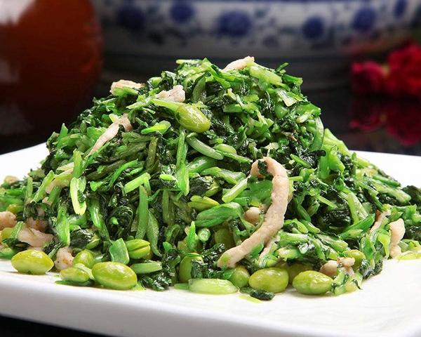鸡毛菜炒青豆