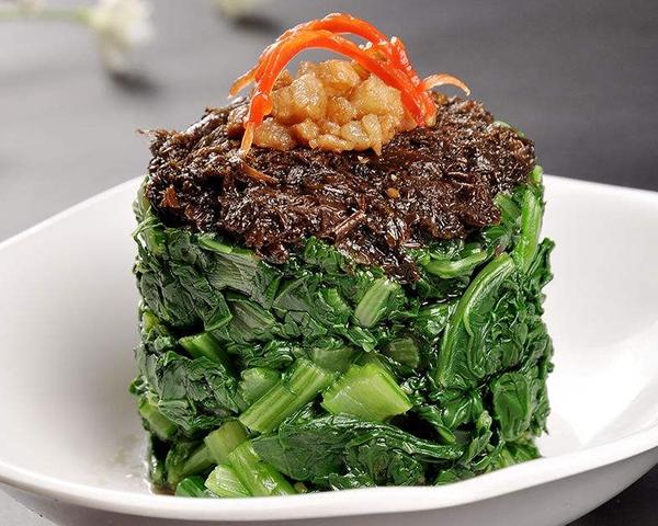 肉沫榄菜拌菜心
